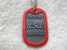 JESUS Tag - (Dog Tag) with RED  Silencer - While they last