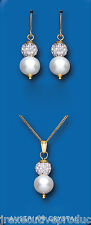Pearl Pendant and Earrings Set Freshwater Cultured Solid Yellow Gold Hallmarked