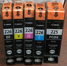 NEW 5-PK GENUINE CANON PIXMA PGI-225 PGBK CLI-226 BK C M Y INK CARTRIDGE SET OEM