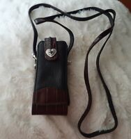Brighton Brown Leather Embossed Croc Eyeglass Heart Case Pouch with Straps