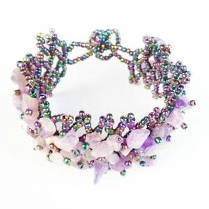 "Brazil Natural Amethyst Chips Titanium Crystal Adjustable Bracelet 7.5"" W99020"