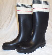 schwarze Damengummistiefel mit Stiefelsocken-Applikation, Grösse 38, getragen
