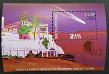 """Ghana 1989 Halley""""s Comet Double Surcharged One Inverted S/S M.N.H."""