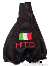FITS ALFA ROMEO Mito 08-15 LEATHER GEAR BOOT COVER Embroidery Italian Flag Red