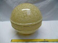 abat jour globe ou boule en opaline jaune à collerette 1950 Ø 21 cm (réfAK63)