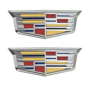 "Cadillac New Style Crest 4 3/4"" Adhesive Chrome Fender Grille Emblems Pair LH RH"