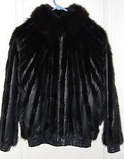 SAGA black MINK leather zip moto JACKET dolman sleeve S 4 6 8 DENMARK FUR $3999