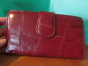 """NEW/unused burgundy 7"""" x 4"""" wallet w/attached cardholder & coin purse"""