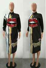 Black Shirt Dress With Abstract Paint And Sequins