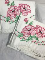2 Vintage Cotton Pillowcases Pair 21X28 Hand Embroidered Flowers w Crochet Lace