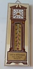 1930s LUTZ & BITTERMAN GLASS MIRROR GRANDFATHER CLOCK ADVERTISING THERMOMETER