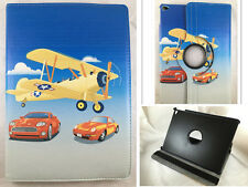 FUNDA CARCASA + PROTECTOR TABLET IPAD AIR 2 IPAD 6 GIRATORIA 360º DIBUJO AVION