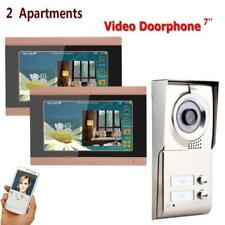 "Video Door Phone Intercom System 7"" Wifi 2 Apartments IR-CUT 1000TVL Doorbell"