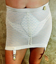 RARE!! REALFORM VINTAGE IVORY RUBBER OPEN BOTTOM GIRDLE WITH GARTERS M EVC NOS
