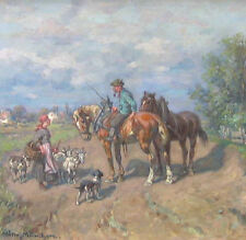 THOMASSIN Désiré 1858-1933 München Hirtin PFERDE Ziegen & Hund bei Dachau ?