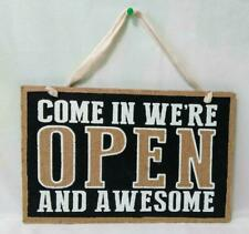 Country Charm OPEN/CLOSED Sign*Printed on Burlap & Wood*Business Office Store