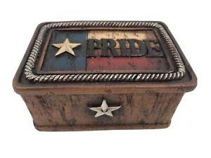 """Texas Pride Resin Trinket Box 4-1/2"""" X 3"""" X 2-1/4""""  Lone Star & Flag Top B18"""