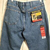 New! Rustler Jeans Mens 35X31 Heavyweight Blue Denim Work Straight Leg Med Wash