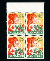 Denmark Stamps VF OG NH 1948 Christmas Seal Block of 4