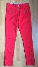 Primark Hightwasted Red Golden Zip Trouser Skinny Jeans Size 10 Floral Lining