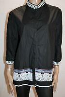 ELEZUN Brand Black 3/4 Sleeve Embroidered Trim Button Up Top Size XXL BNWT #SS81