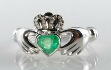 CLASSIC 9K 9CT WHITE GOLD CLADDAGH EMERALD HEART ART DECO INS RING FREE RESIZE