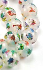 4 Loose Bead Vintage Glass Reverse Hand paint inside Peking Charm 15mm Butterfly