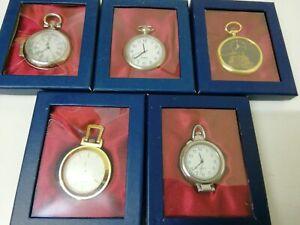 Joblot Bundle For Resale - 5 X Pocket Watches - In Original Box - NEW BATTERIES
