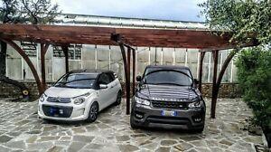 Carport in legno 5x6 h. 2,70 pergola tettoia per due auto in pino impregnato