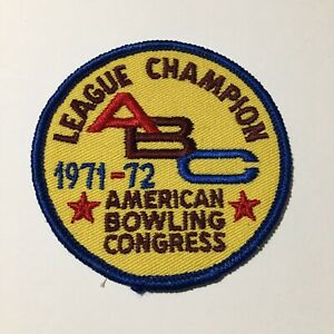 ABC American Bowling Collectible Iron On Patch Embroidered Pre Owned Vtg 1971 72