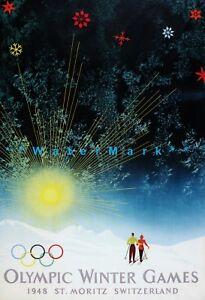 Olympic Winter Games 1948 St Moritz Switzerland Vintage Poster Print Retro Style