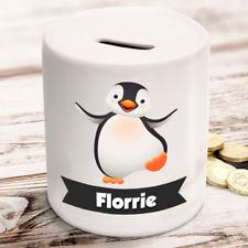 Personalised kids childrens money box in baby penguin design - gift present idea