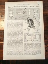 1932 How to Properly Skin Small Game Animal Skinning Hunting Outdoors Pelts