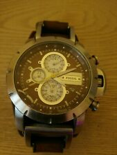 Mens watch chronograph FOSSIL Analog Dial Watch Brown Leather Strap JR1157 rare