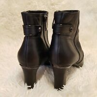 Womens Black Leather Zip Up Ankle Boots Size 6.5M UK 4.5 Anne Klein AKSUKEY