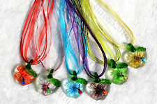 FREE Wholesale 6pcs Apple Animal Flower In Lampwork Glass Pendants Silk Necklace