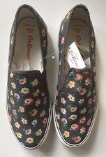 Cath Kidston Floral Charcoal Slip On Daps Size 7 (40) - Cotton Ditsy BNWT
