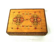 Vintage pyrography wooden box w/ mirror Barber Shaving Vanity box FOREIGN