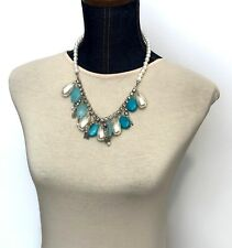 Chunky Art Deco Necklace Faux Pearls & Turquoise, Rhinestones & Resin ~ 20""