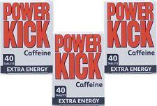 Power Kick Caffeine Extra Energy Tablets 40 Pack X3 TRIPLE PACK,Mental Alertness