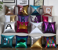 "16"" Rainbow Magic Throw Pillow Case Reversible Mermaid Sequin Sofa Cushion Cover"