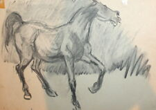 Impressionism vintage charcoal drawing horse