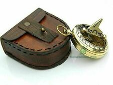 Vintage Brass Sundial Compass with Leather Case handmade design gift style brass