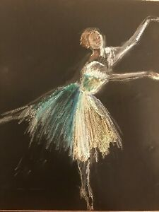 Oil Pastel Drawing of a Dancer in Green and White on Black Paper