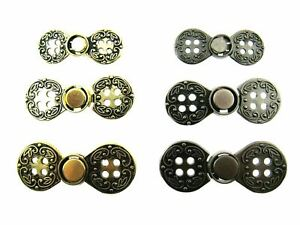 NORWEGIAN BUCKLE 4 HOLE METAL CLASP FASTENERS / ANTIQUE GOLD or SILVER