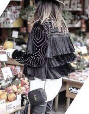 Zara Blazer S 36 Samt Fransen Nieten Stickerei Jacke Blogger