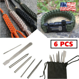 6PC Paracord Lacing Needles Stainless Steel Tool Set Fid Lacing Stitching Bag