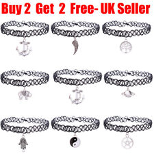Women Vintage Hippy Silver Charm Elastic Tattoo Choker Necklace For Women Lady