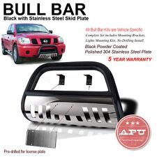 "01-07 Ford Escape Bull Bar Black w/ SS Skid Plate + 6"" Round Clear Fog Lights"