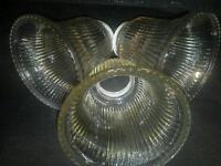 Vtg Glass Light Shades set of 3 Mid century amber fluted bells